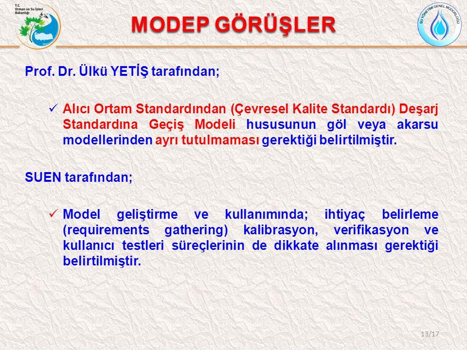 MODEP GÖRÜŞLER 13/17 Prof. Dr. Ülkü YETİŞ tarafından; Alıcı Ortam Standardından (Çevresel Kalite Standardı) Deşarj Standardına Geçiş Modeli hususunun