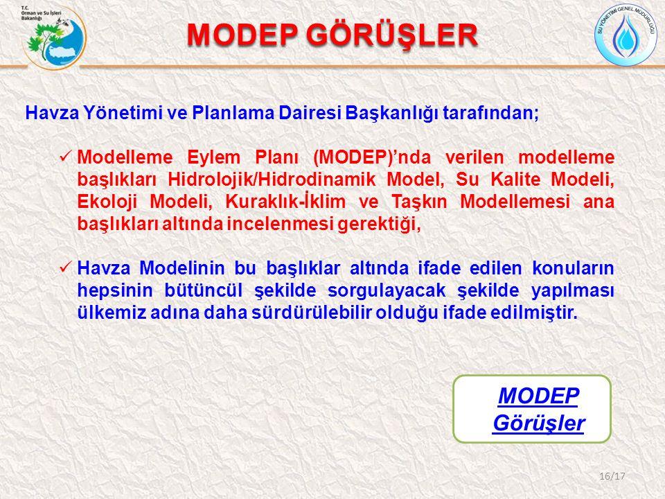 16/17 MODEP GÖRÜŞLER MODEP Görüşler Havza Yönetimi ve Planlama Dairesi Başkanlığı tarafından; Modelleme Eylem Planı (MODEP)'nda verilen modelleme başl