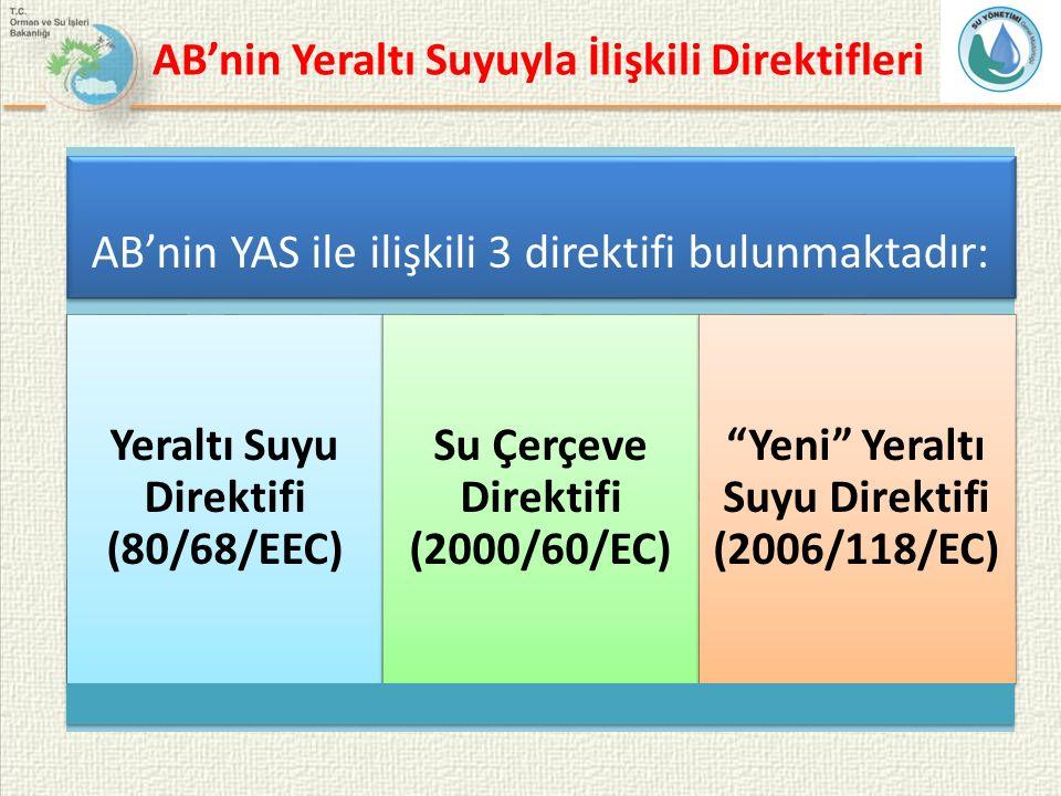 AB'nin Yeraltı Suyuyla İlişkili Direktifleri AB'nin YAS ile ilişkili 3 direktifi bulunmaktadır: Yeraltı Suyu Direktifi (80/68/EEC) Su Çerçeve Direktif