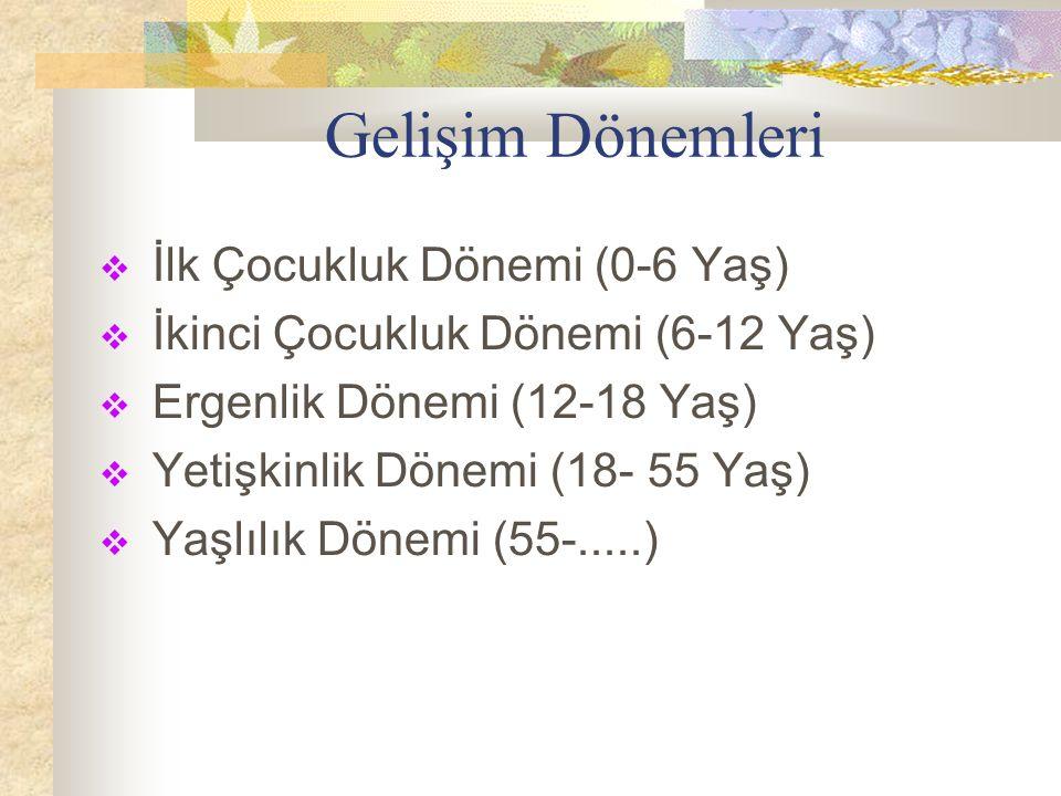 Gelişim Dönemleri  İlk Çocukluk Dönemi (0-6 Yaş)  İkinci Çocukluk Dönemi (6-12 Yaş)  Ergenlik Dönemi (12-18 Yaş)  Yetişkinlik Dönemi (18- 55 Yaş)