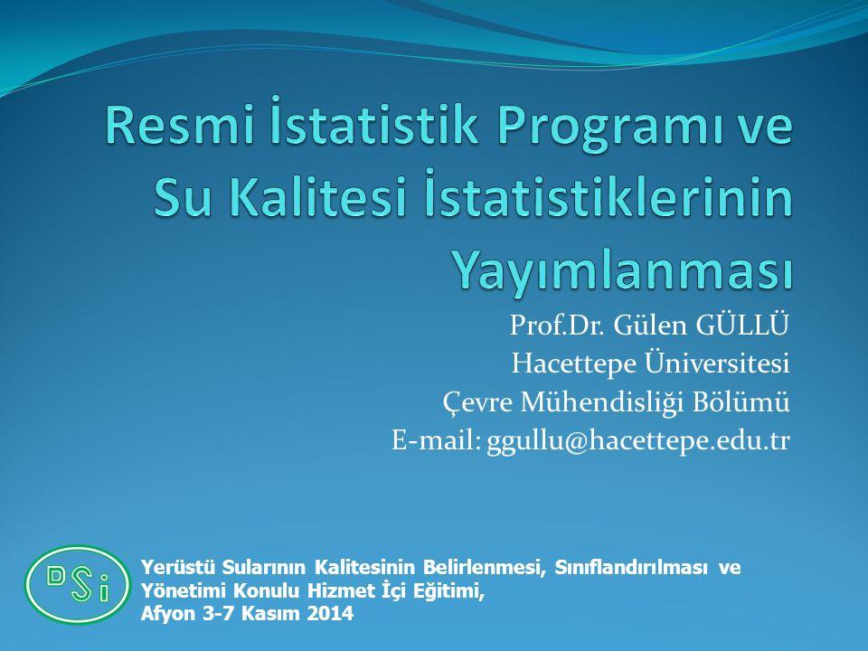 Prof.Dr. Gülen GÜLLÜ Hacettepe Üniversitesi Çevre Mühendisliği Bölümü E-mail: ggullu@hacettepe.edu.tr Yerüstü Sularının Kalitesinin Belirlenmesi, Sını