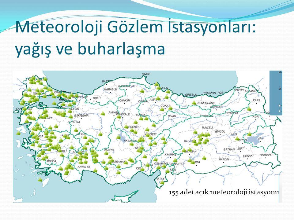 Meteoroloji Gözlem İstasyonları: yağış ve buharlaşma 155 adet açık meteoroloji istasyonu