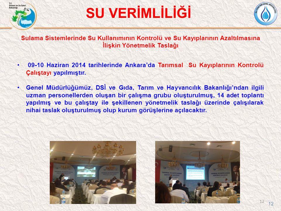 12 SU VERİMLİLİĞİ 12 09-10 Haziran 2014 tarihlerinde Ankara'da Tarımsal Su Kayıplarının Kontrolü Çalıştayı yapılmıştır. Genel Müdürlüğümüz, DSİ ve Gıd