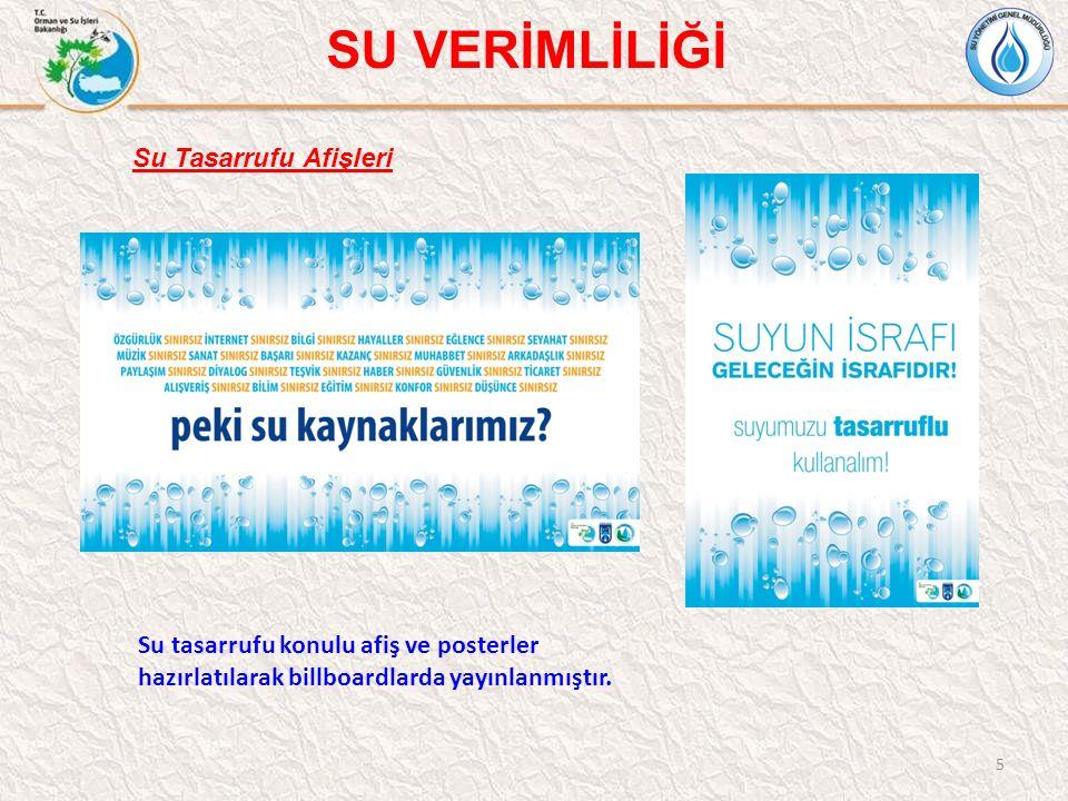 5 Su tasarrufu konulu afiş ve posterler hazırlatılarak billboardlarda yayınlanmıştır. Su Tasarrufu Afişleri SU VERİMLİLİĞİ