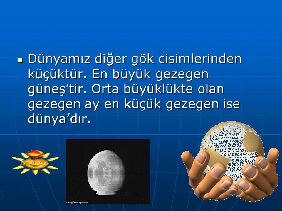 Dünyamız diğer gök cisimlerinden küçüktür. En büyük gezegen güneş'tir. Orta büyüklükte olan gezegen ay en küçük gezegen ise dünya'dır. Dünyamız diğer