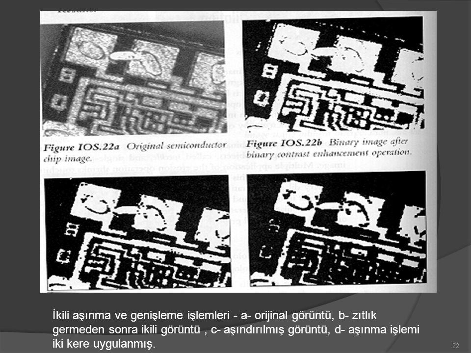 İkili aşınma ve genişleme işlemleri - a- orijinal görüntü, b- zıtlık germeden sonra ikili görüntü, c- aşındırılmış görüntü, d- aşınma işlemi iki kere