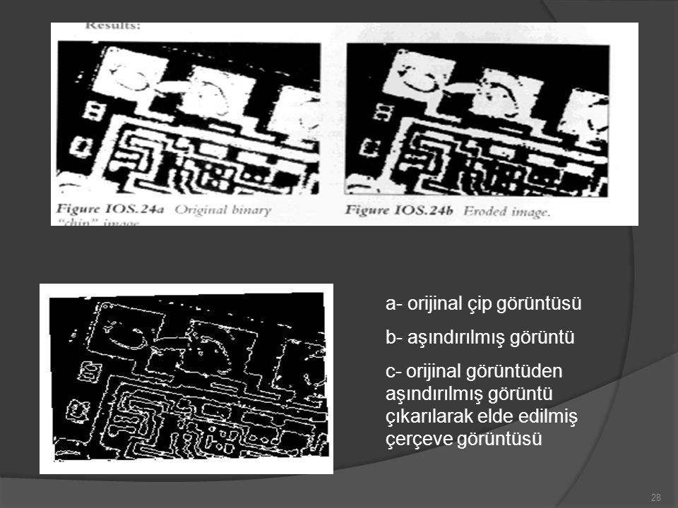 a- orijinal çip görüntüsü b- aşındırılmış görüntü c- orijinal görüntüden aşındırılmış görüntü çıkarılarak elde edilmiş çerçeve görüntüsü 28