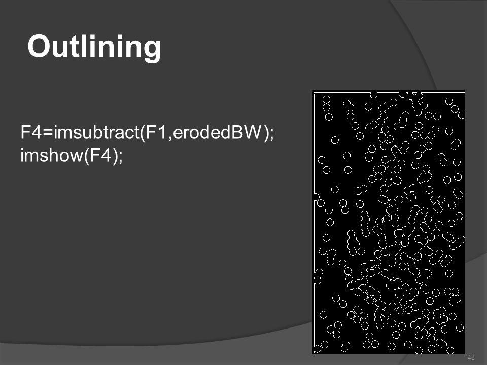 Outlining F4=imsubtract(F1,erodedBW); imshow(F4); 48