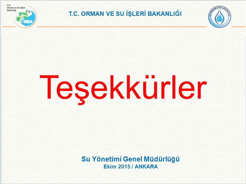 Teşekkürler T.C. ORMAN VE SU İŞLERİ BAKANLIĞI Su Yönetimi Genel Müdürlüğü Ekim 2015 / ANKARA