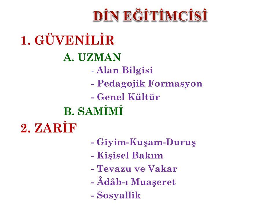 1.GÜVENİLİR A. UZMAN - Alan Bilgisi - Pedagojik Formasyon - Genel Kültür B.