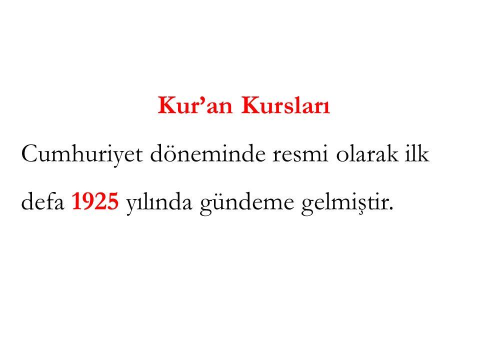 Kur'an Kursları Cumhuriyet döneminde resmi olarak ilk defa 1925 yılında gündeme gelmiştir.