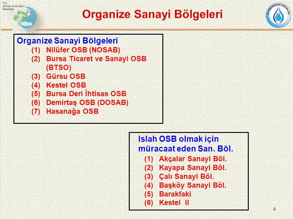 4 Organize Sanayi Bölgeleri (1)Nilüfer OSB (NOSAB) (2)Bursa Ticaret ve Sanayi OSB (BTSO) (3)Gürsu OSB (4)Kestel OSB (5)Bursa Deri İhtisas OSB (6)Demir