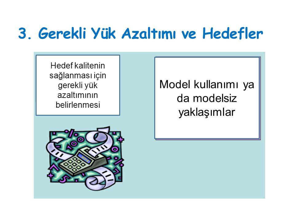 3. Gerekli Yük Azaltımı ve Hedefler Model kullanımı ya da modelsiz yaklaşımlar Hedef kalitenin sağlanması için gerekli yük azaltımının belirlenmesi