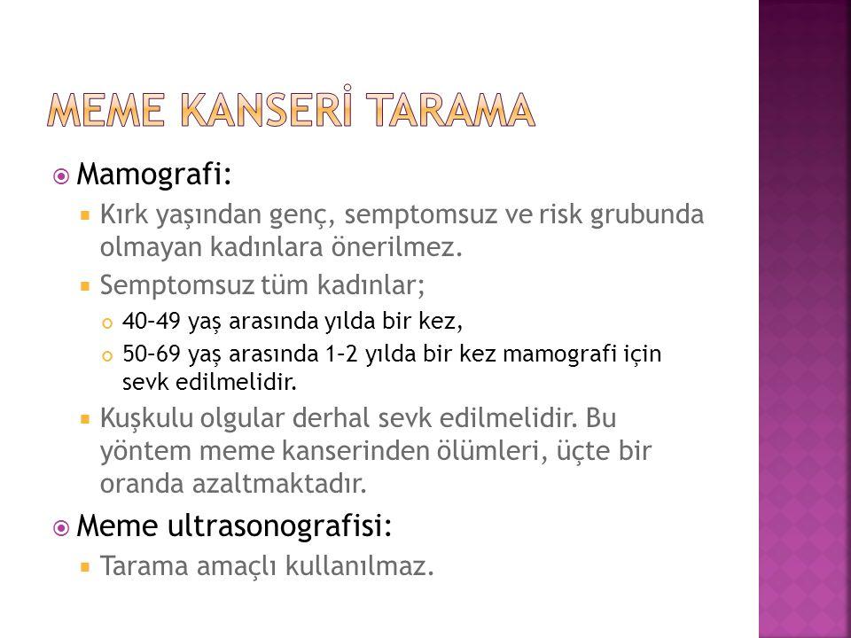  Mamografi:  Kırk yaşından genç, semptomsuz ve risk grubunda olmayan kadınlara önerilmez.