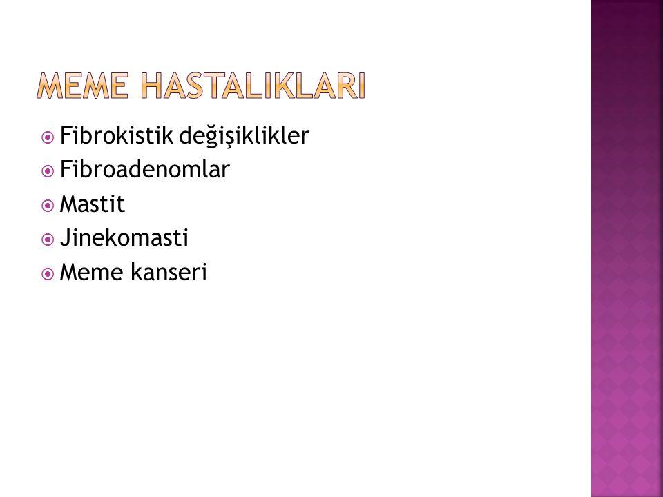  Fibrokistik değişiklikler  Fibroadenomlar  Mastit  Jinekomasti  Meme kanseri