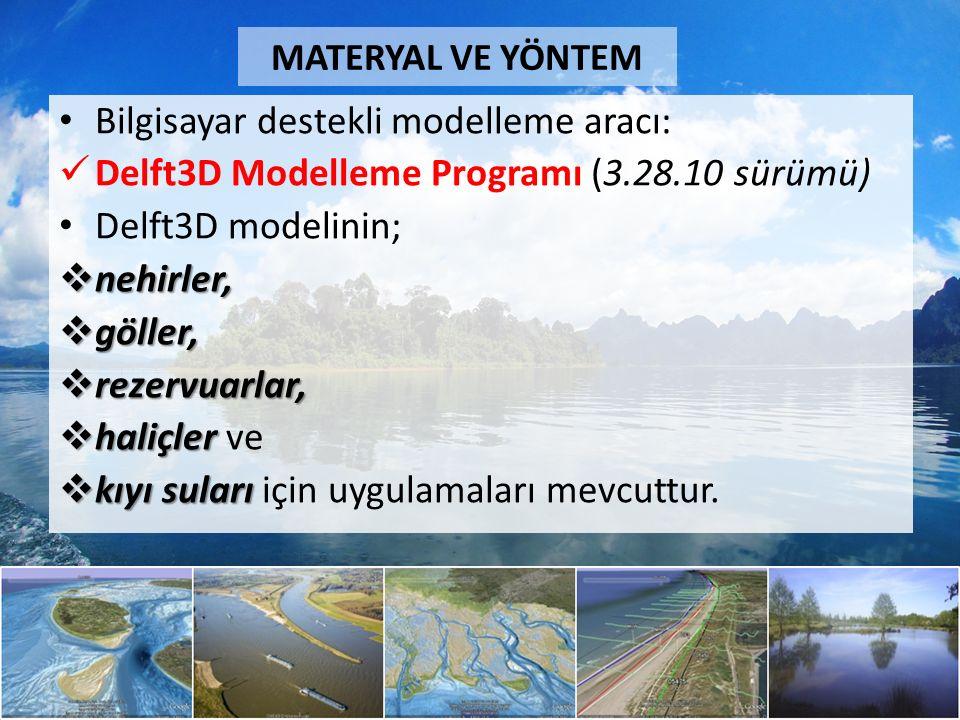 Bilgisayar destekli modelleme aracı: Delft3D Modelleme Programı (3.28.10 sürümü) Delft3D modelinin;  nehirler,  göller,  rezervuarlar,  haliçler  haliçler ve  kıyı suları  kıyı suları için uygulamaları mevcuttur.