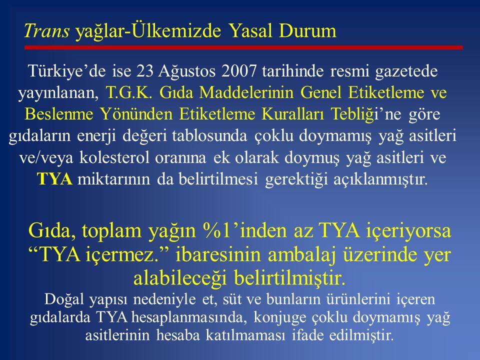 Trans yağlar-Ülkemizde Yasal Durum Türkiye'de ise 23 Ağustos 2007 tarihinde resmi gazetede yayınlanan, T.G.K. Gıda Maddelerinin Genel Etiketleme ve Be