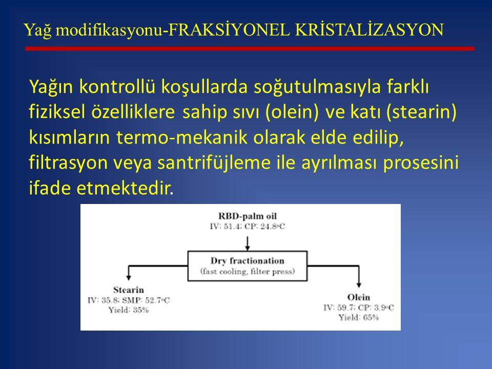 Yağ modifikasyonu-FRAKSİYONEL KRİSTALİZASYON Yağın kontrollü koşullarda soğutulmasıyla farklı fiziksel özelliklere sahip sıvı (olein) ve katı (stearin