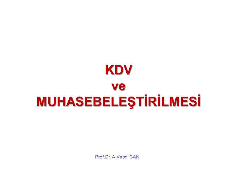 KDV ve MUHASEBELEŞTİRİLMESİ Prof.Dr. A.Vecdi CAN