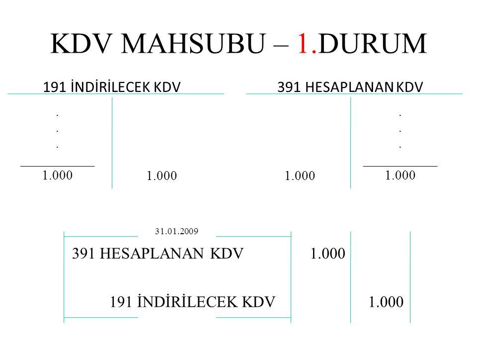 KDV MAHSUBU – 1.DURUM 191 İNDİRİLECEK KDV391 HESAPLANAN KDV.
