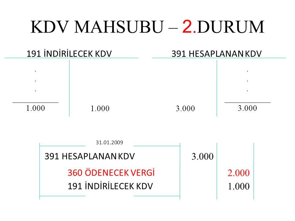 KDV MAHSUBU – 2.DURUM 191 İNDİRİLECEK KDV391 HESAPLANAN KDV.