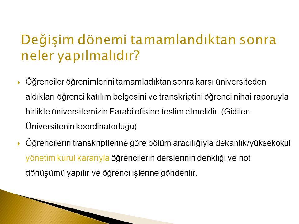  Öğrenciler öğrenimlerini tamamladıktan sonra karşı üniversiteden aldıkları öğrenci katılım belgesini ve transkriptini öğrenci nihai raporuyla birlikte üniversitemizin Farabi ofisine teslim etmelidir.