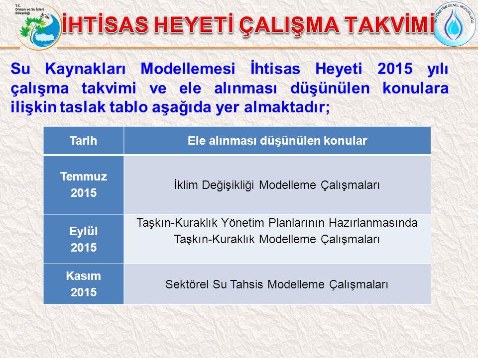 TarihEle alınması düşünülen konular Temmuz 2015 İklim Değişikliği Modelleme Çalışmaları Eylül 2015 Taşkın-Kuraklık Yönetim Planlarının Hazırlanmasında Taşkın-Kuraklık Modelleme Çalışmaları Kasım 2015 Sektörel Su Tahsis Modelleme Çalışmaları Su Kaynakları Modellemesi İhtisas Heyeti 2015 yılı çalışma takvimi ve ele alınması düşünülen konulara ilişkin taslak tablo aşağıda yer almaktadır;