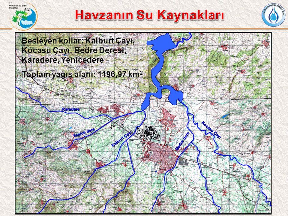 Besleyen kollar: Kalburt Çayı, Kocasu Çayı, Bedre Deresi, Karadere, Yenicedere Toplam yağış alanı: 1196,97 km 2