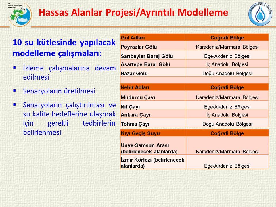 10 su kütlesinde yapılacak modelleme çalışmaları:  İzleme çalışmalarına devam edilmesi  Senaryoların üretilmesi  Senaryoların çalıştırılması ve su kalite hedeflerine ulaşmak için gerekli tedbirlerin belirlenmesi Hassas Alanlar Projesi/Ayrıntılı Modelleme