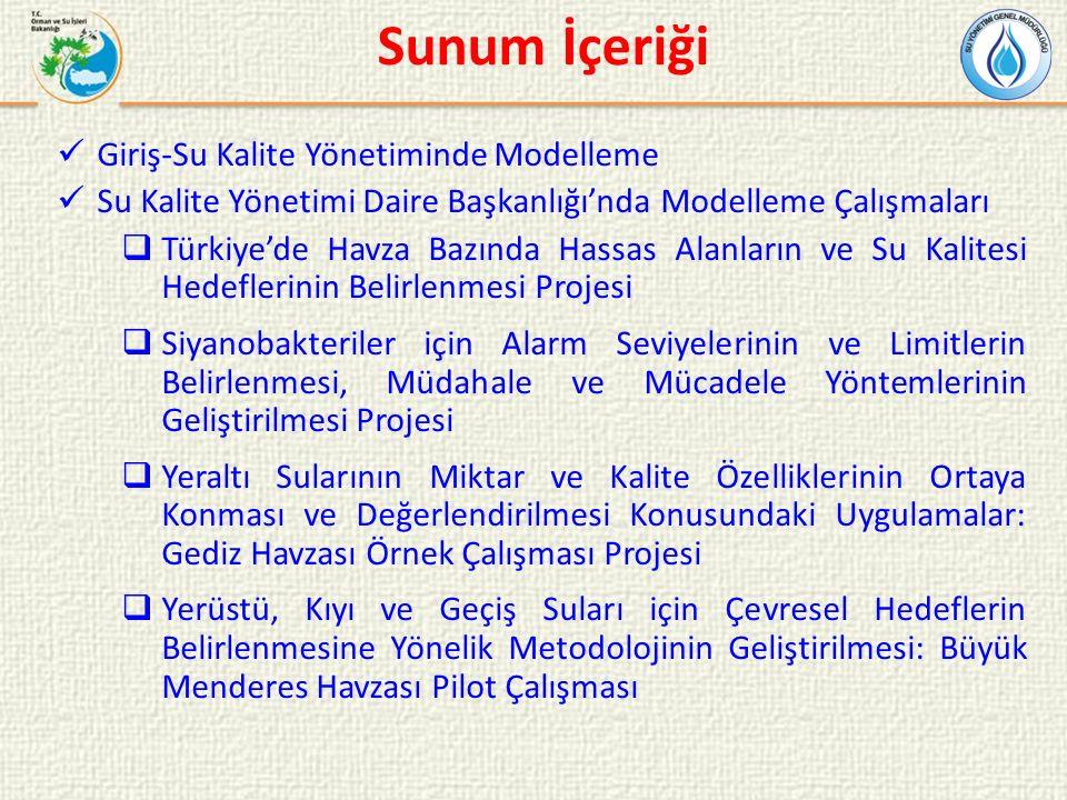 Sunum İçeriği Giriş-Su Kalite Yönetiminde Modelleme Su Kalite Yönetimi Daire Başkanlığı'nda Modelleme Çalışmaları  Türkiye'de Havza Bazında Hassas Alanların ve Su Kalitesi Hedeflerinin Belirlenmesi Projesi  Siyanobakteriler için Alarm Seviyelerinin ve Limitlerin Belirlenmesi, Müdahale ve Mücadele Yöntemlerinin Geliştirilmesi Projesi  Yeraltı Sularının Miktar ve Kalite Özelliklerinin Ortaya Konması ve Değerlendirilmesi Konusundaki Uygulamalar: Gediz Havzası Örnek Çalışması Projesi  Yerüstü, Kıyı ve Geçiş Suları için Çevresel Hedeflerin Belirlenmesine Yönelik Metodolojinin Geliştirilmesi: Büyük Menderes Havzası Pilot Çalışması