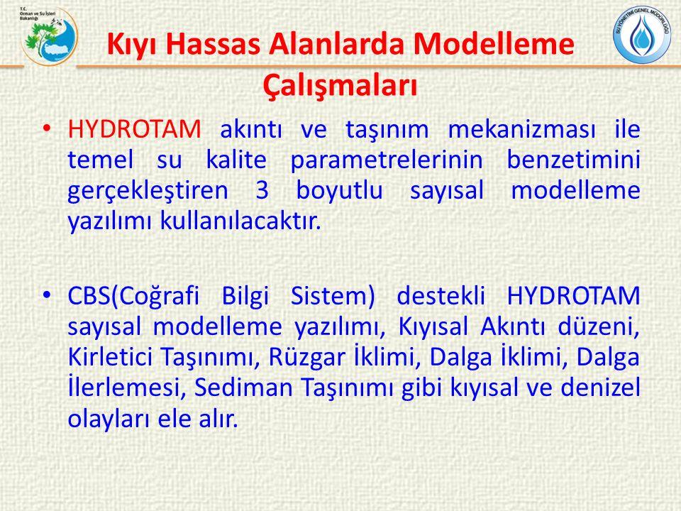 Kıyı Hassas Alanlarda Modelleme Çalışmaları HYDROTAM akıntı ve taşınım mekanizması ile temel su kalite parametrelerinin benzetimini gerçekleştiren 3 boyutlu sayısal modelleme yazılımı kullanılacaktır.