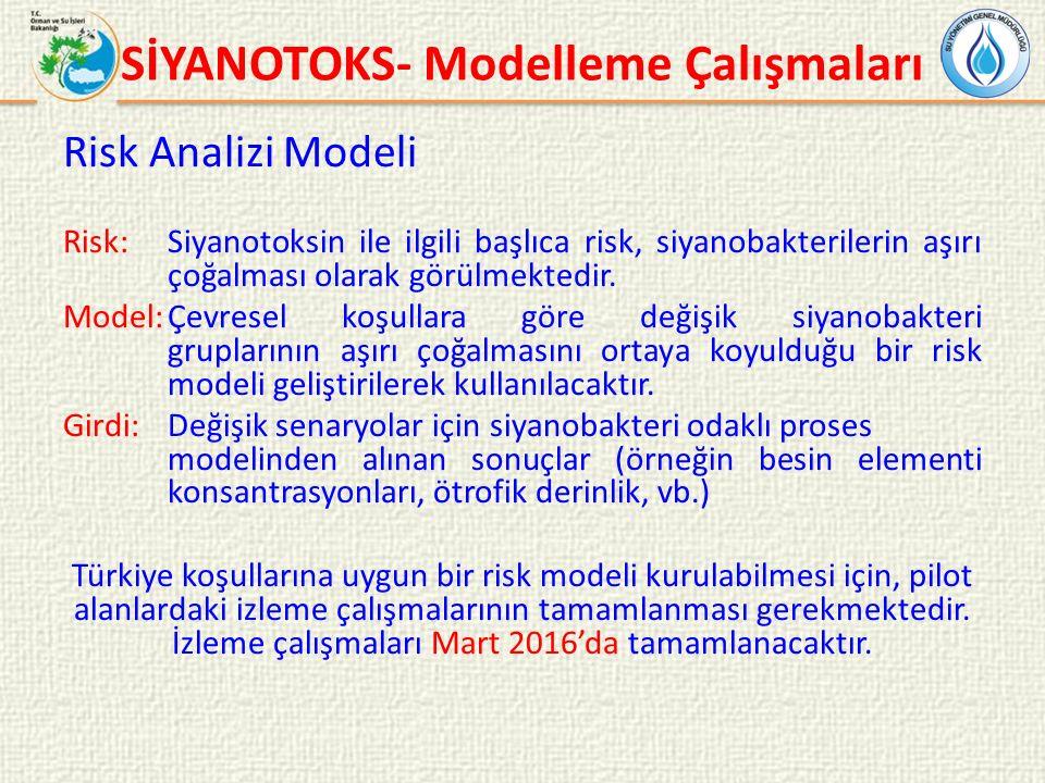 Risk Analizi Modeli Risk: Siyanotoksin ile ilgili başlıca risk, siyanobakterilerin aşırı çoğalması olarak görülmektedir.