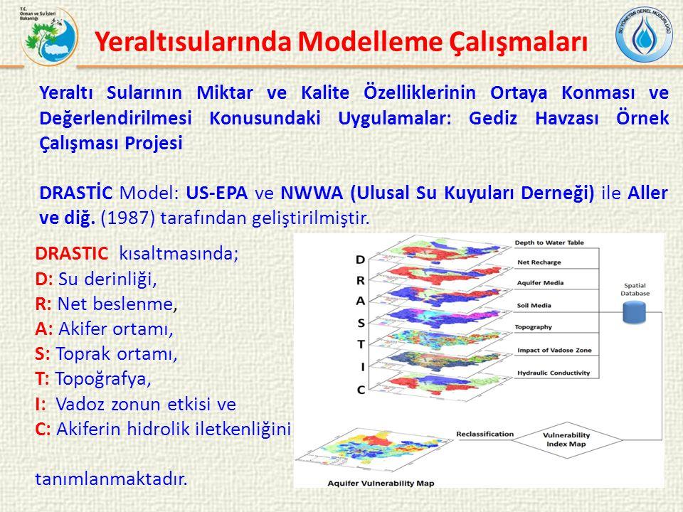 Yeraltı Sularının Miktar ve Kalite Özelliklerinin Ortaya Konması ve Değerlendirilmesi Konusundaki Uygulamalar: Gediz Havzası Örnek Çalışması Projesi DRASTİC Model: US-EPA ve NWWA (Ulusal Su Kuyuları Derneği) ile Aller ve diğ.
