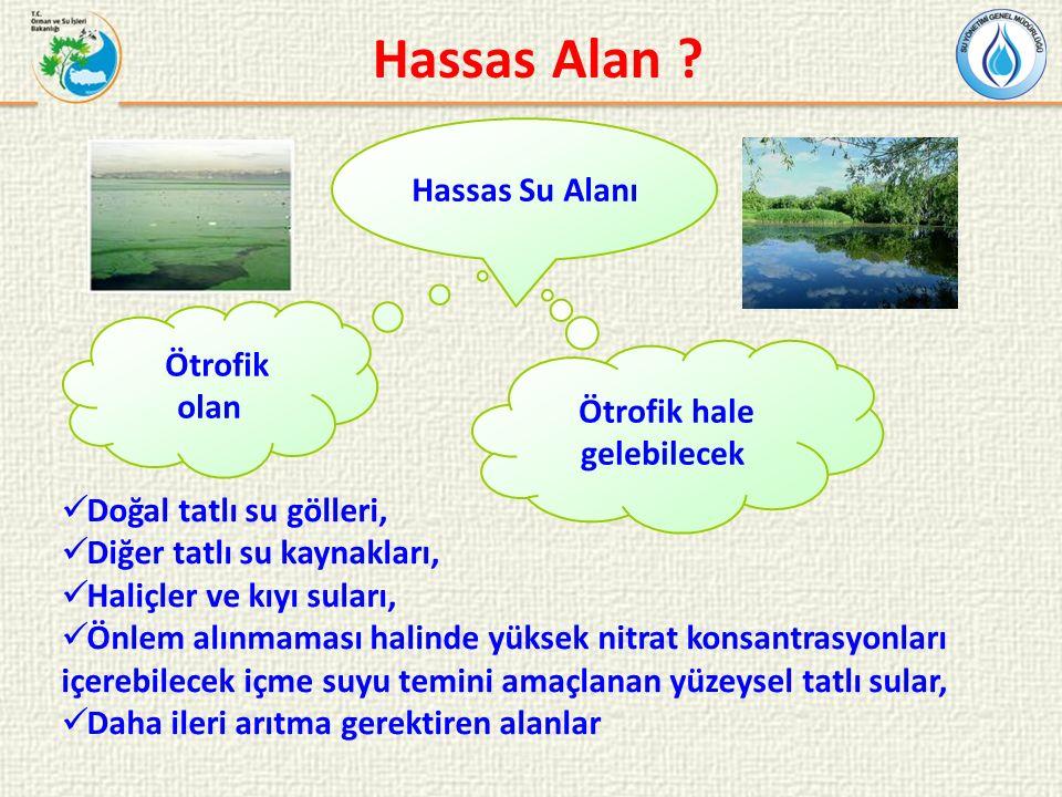 Hassas Su Alanı Ötrofik olan Ötrofik hale gelebilecek Hassas Alan .