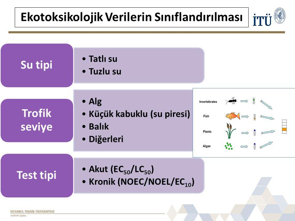 Tatlı su Tuzlu su Su tipi Alg Küçük kabuklu (su piresi) Balık Diğerleri Trofik seviye Akut (EC50/LC50) Kronik (NOEC/NOEL/EC 10 ) Test tipi Ekotoksikolojik Verilerin Sınıflandırılması