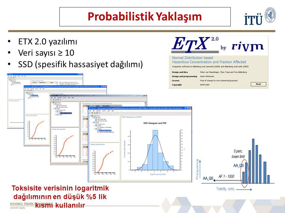 ETX 2.0 yazılımı Veri sayısı ≥ 10 SSD (spesifik hassasiyet dağılımı) Probabilistik Yaklaşım Toksisite verisinin logaritmik dağılımının en düşük %5 lik kısmı kullanılır