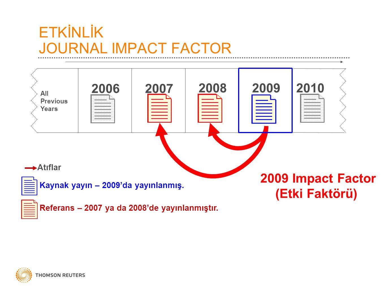 ETKİNLİK JOURNAL IMPACT FACTOR 2009 Impact Factor (Etki Faktörü) 20092008 2007 Kaynak yayın – 2009'da yayınlanmış. Referans – 2007 ya da 2008'de yayın