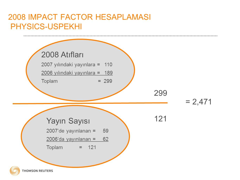 2008 IMPACT FACTOR HESAPLAMASI PHYSICS-USPEKHI 2008 Atıfları 2007 yılındaki yayınlara = 110 2006 yılındaki yayınlara = 189 Toplam = 299 Yayın Sayısı 2007'de yayınlanan = 59 2006'da yayınlanan = 62 Toplam = 121 299 121 = 2,471