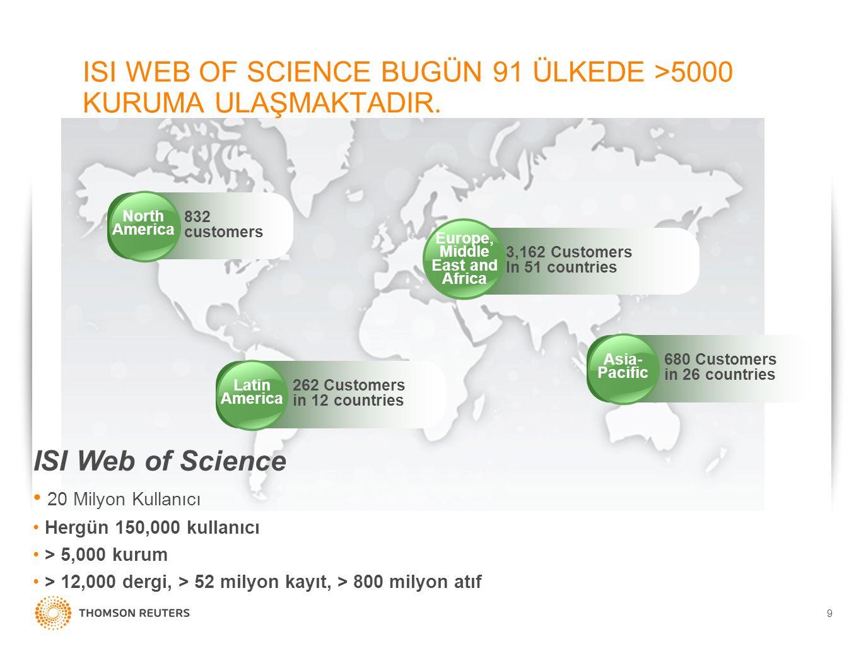9 ISI WEB OF SCIENCE BUGÜN 91 ÜLKEDE >5000 KURUMA ULAŞMAKTADIR. Asia- Pacific 680 Customers in 26 countries Europe, Middle East and Africa 3,162 Custo