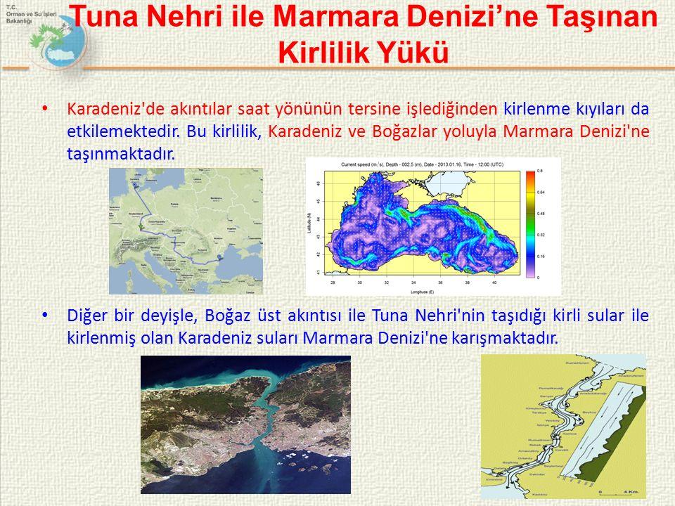 Tuna Nehri ile Marmara Denizi'ne Taşınan Kirlilik Yükü Karadeniz de akıntılar saat yönünün tersine işlediğinden kirlenme kıyıları da etkilemektedir.