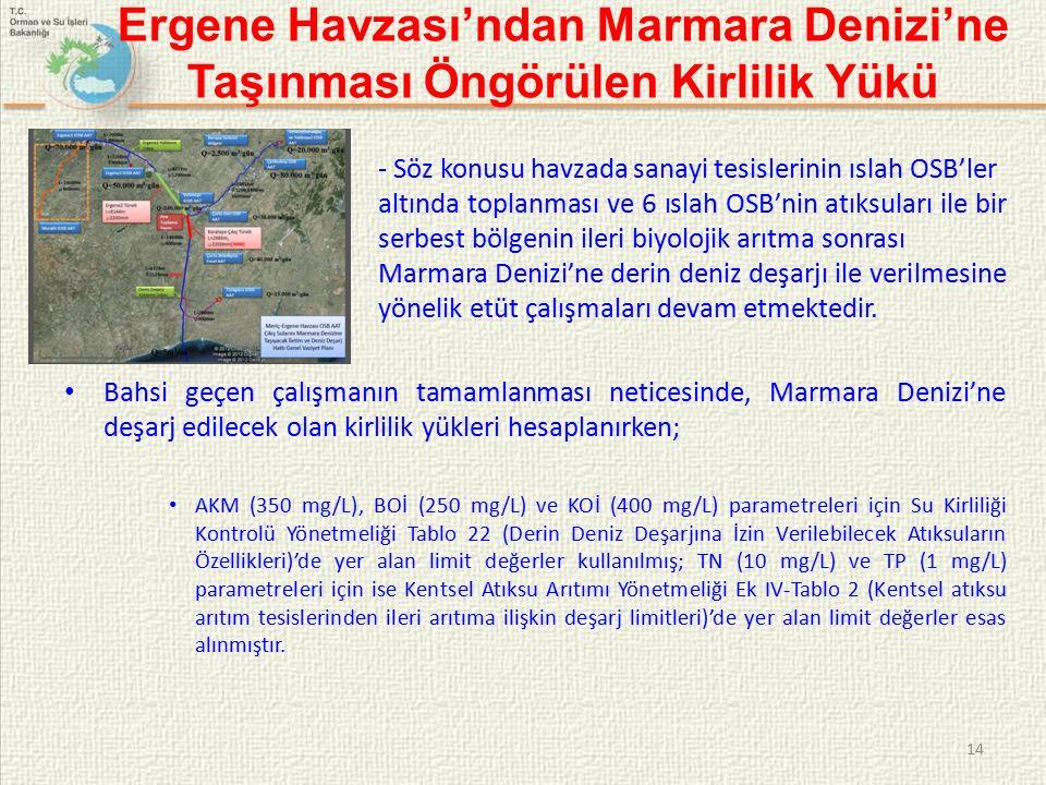 Ergene Havzası'ndan Marmara Denizi'ne Taşınması Öngörülen Kirlilik Yükü - Söz konusu havzada sanayi tesislerinin ıslah OSB'ler altında toplanması ve 6 ıslah OSB'nin atıksuları ile bir serbest bölgenin ileri biyolojik arıtma sonrası Marmara Denizi'ne derin deniz deşarjı ile verilmesine yönelik etüt çalışmaları devam etmektedir.