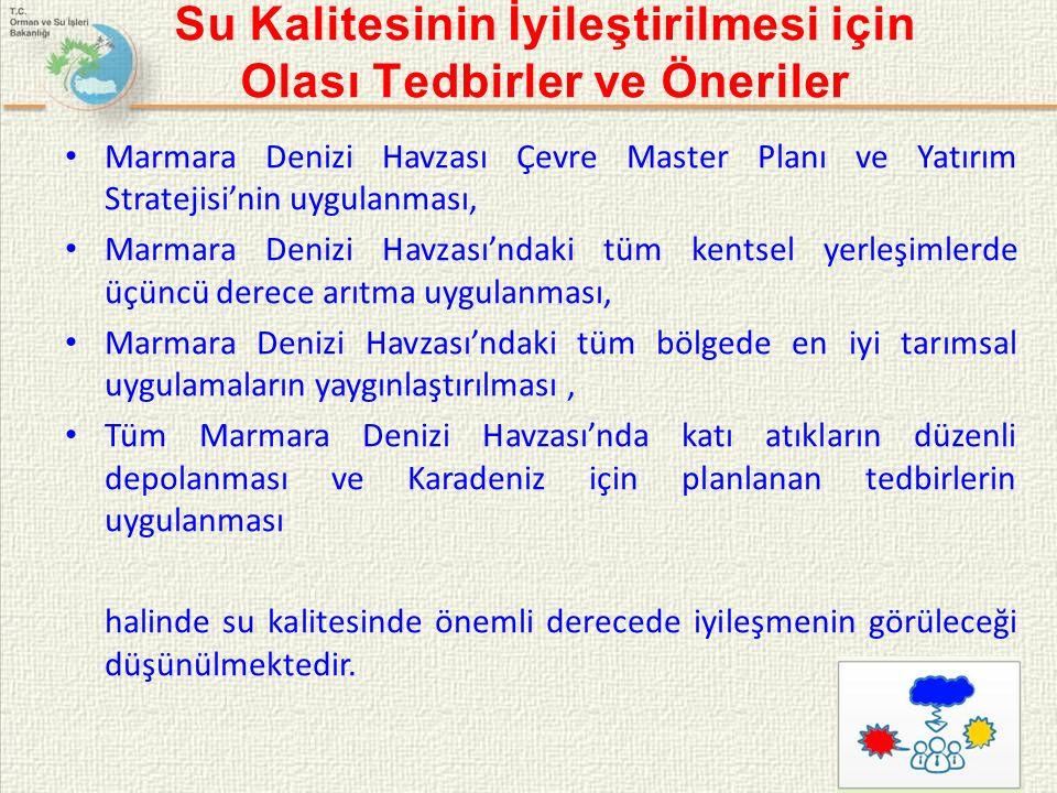 Su Kalitesinin İyileştirilmesi için Olası Tedbirler ve Öneriler Marmara Denizi Havzası Çevre Master Planı ve Yatırım Stratejisi'nin uygulanması, Marmara Denizi Havzası'ndaki tüm kentsel yerleşimlerde üçüncü derece arıtma uygulanması, Marmara Denizi Havzası'ndaki tüm bölgede en iyi tarımsal uygulamaların yaygınlaştırılması, Tüm Marmara Denizi Havzası'nda katı atıkların düzenli depolanması ve Karadeniz için planlanan tedbirlerin uygulanması halinde su kalitesinde önemli derecede iyileşmenin görüleceği düşünülmektedir.