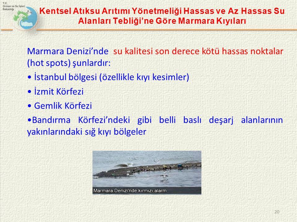 Kentsel Atıksu Arıtımı Yönetmeliği Hassas ve Az Hassas Su Alanları Tebliği'ne Göre Marmara Kıyıları 20 Marmara Denizi'nde su kalitesi son derece kötü hassas noktalar (hot spots) şunlardır: İstanbul bölgesi (özellikle kıyı kesimler) İzmit Körfezi Gemlik Körfezi Bandırma Körfezi'ndeki gibi belli baslı deşarj alanlarının yakınlarındaki sığ kıyı bölgeler