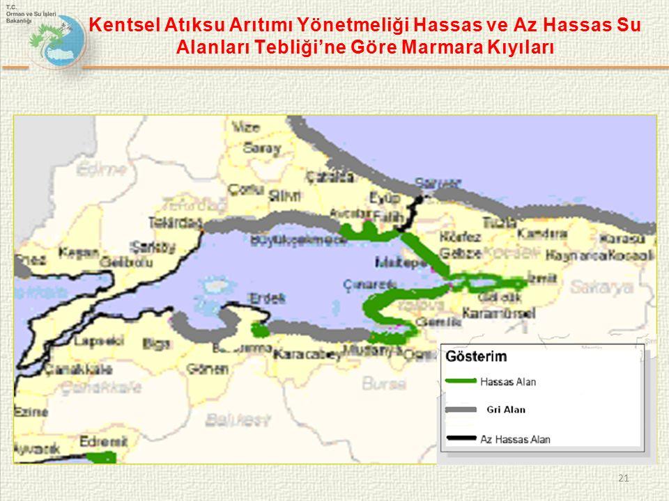 Kentsel Atıksu Arıtımı Yönetmeliği Hassas ve Az Hassas Su Alanları Tebliği'ne Göre Marmara Kıyıları 21
