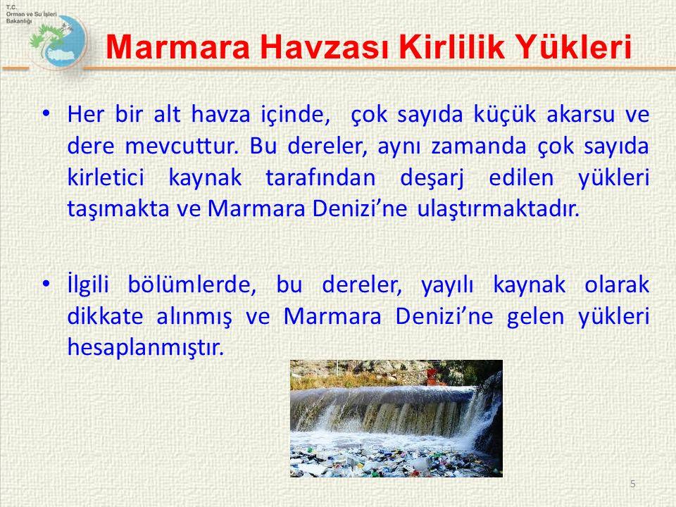 Marmara Denizi Kirlilik Raporu'nda, Marmara Denizi'ne deşarj edilen - askıda katı madde (AKM) - biyolojik oksijen ihtiyacı (BOİ) - kimyasal oksijen ihtiyacı (KOİ) - toplam nitrojen (TN) - toplam fosfor (TP) parametreleri için kirlilik yükü hesabı yapılmıştır.