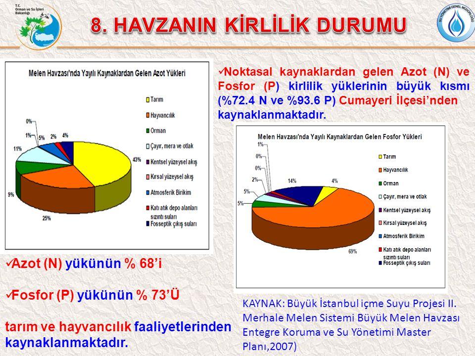 Azot (N) yükünün % 68'i Fosfor (P) yükünün % 73'Ü tarım ve hayvancılık faaliyetlerinden kaynaklanmaktadır. Noktasal kaynaklardan gelen Azot (N) ve Fos