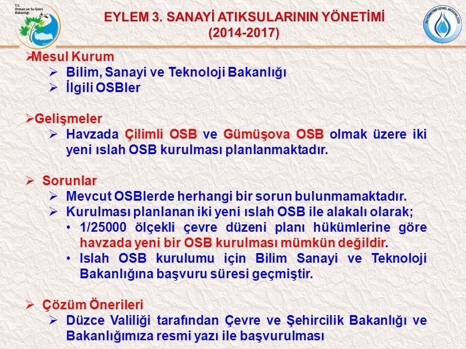 Mesul Kurum  Bilim, Sanayi ve Teknoloji Bakanlığı  İlgili OSBler  Gelişmeler  Havzada Çilimli OSB ve Gümüşova OSB olmak üzere iki yeni ıslah OSB