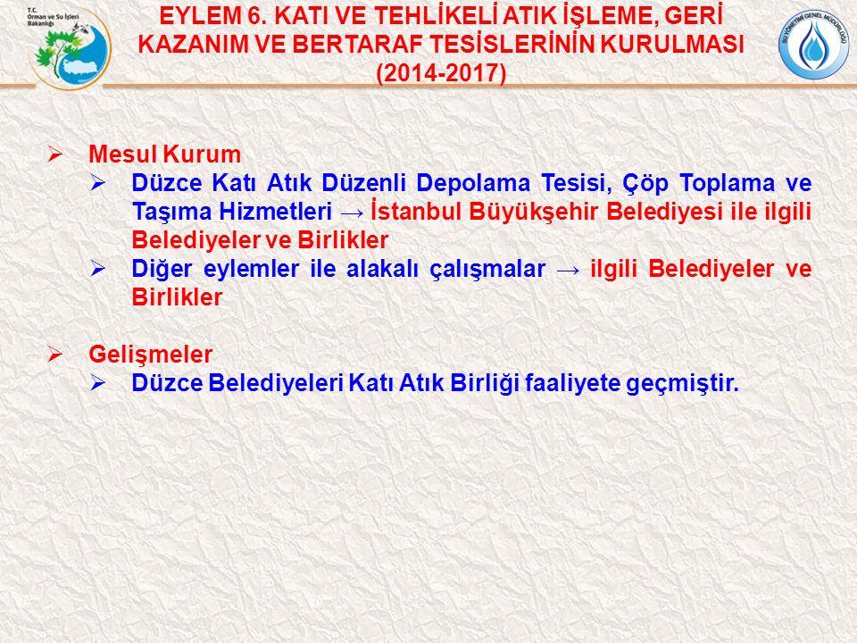  Mesul Kurum  Düzce Katı Atık Düzenli Depolama Tesisi, Çöp Toplama ve Taşıma Hizmetleri → İstanbul Büyükşehir Belediyesi ile ilgili Belediyeler ve B