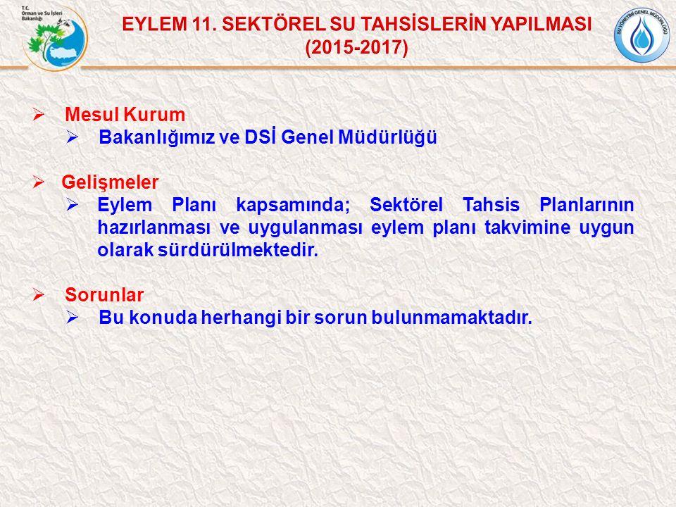  Mesul Kurum  Bakanlığımız ve DSİ Genel Müdürlüğü  Gelişmeler  Eylem Planı kapsamında; Sektörel Tahsis Planlarının hazırlanması ve uygulanması eyl