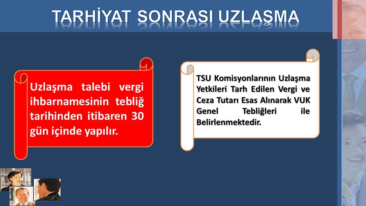 Uzlaşma talebi vergi ihbarnamesinin tebliğ tarihinden itibaren 30 gün içinde yapılır. TSU Komisyonlarının Uzlaşma Yetkileri Tarh Edilen Vergi ve Ceza